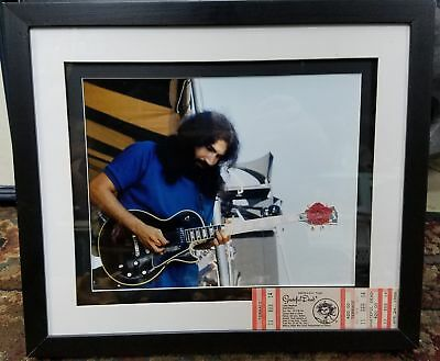 "Framed 8"" x 10"" Jerry Garcia Grateful Dead Photograph with Concert Ticket"
