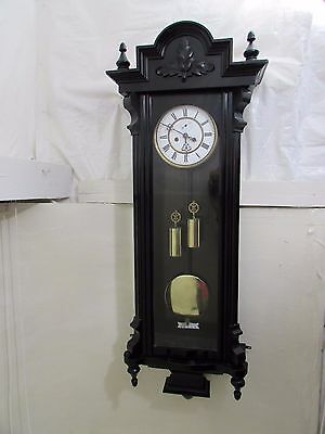 Antique Ebonised Double Weight Vienna Regulator HE&Co Schutz Marke Wall Clock