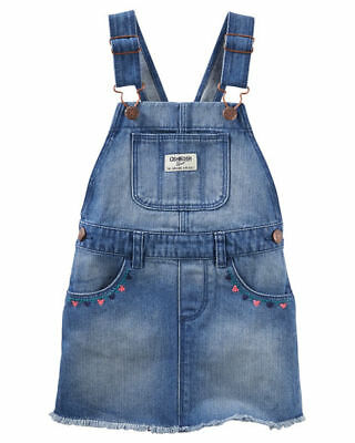 OshKosh B'Gosh Toddler Girls' Embroidered Denim Overall Jumper NWT