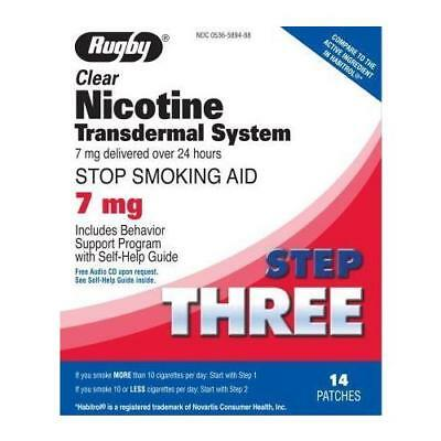 3 Pack Rugby Nicotine Transdermal System Step Three 7mg Patches 14 Each