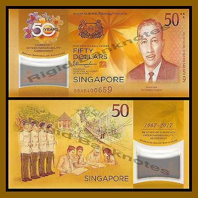 Singapore 50 Dollars, 2017 P.New 50th Anniversary CIA Commemorative Polymer Unc