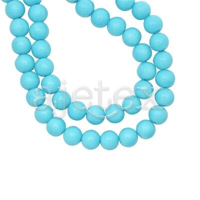 200pcs Turquoise Glass Pearl Spacer Beads Round Crafts Making 4x4mm IFGP0001-16