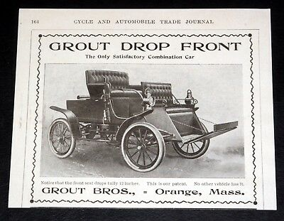 1903 Old Magazine Print Ad, Grout Drop Front, Only Satisfactory Combination Car!
