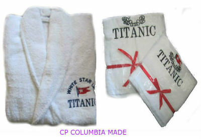 New Titanic First Class Passenger Courtesy Bath Robe Bath & Face Towels Set