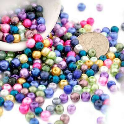 200pcs Mixed Random Glass Pearl Spacer Beads Round Crafts Making 4x4mm IFGP0005