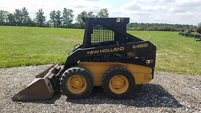 New Holland LX485 skid steer loader, OROPS, 1,350# cap, sticks/pedals, 727 HRS!!