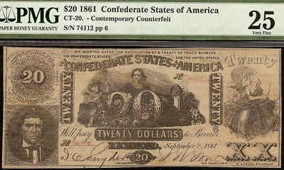 1861 $20 Confederate States Contemporary Counterfeit Civil War Note Ct-20 Pmg 25