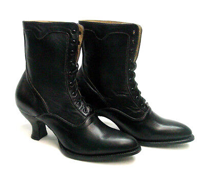 Oak Tree Farms Eleanor Old West Granny Vintage Style Black Boot Leather sz 6-11