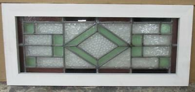 MID SIZED OLD ENGLISH LEADED STAINED GLASS WINDOW Pretty Diamond Geo 27.5 x 12.5