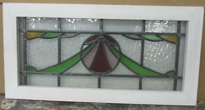 "MID SIZED OLD ENGLISH LEADED STAINED GLASS WINDOW Gorgeous Abstract 27"" x 13.75"""