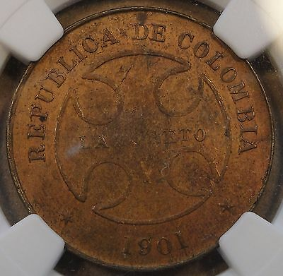 Colombia 1901 Lazareto 50 Centavos NGC AU55 BN Km L5a KM States 2 Known in Coppe