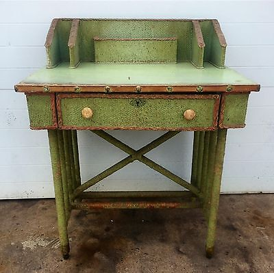 Distressed Woven Writing Desk Mid Century Modern Vintage Antique