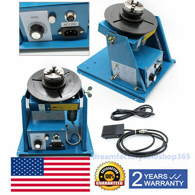 "110V Rotary Welding Positioner Turntable Table Mini 2.5"" 3 Jaw Lathe Chuck Video"