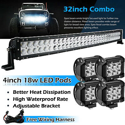 """32inch Curved Led Light bar +4X 4"""" CREE Work Pods Offroad Jeep SUV Ram ATVs  30"""""""