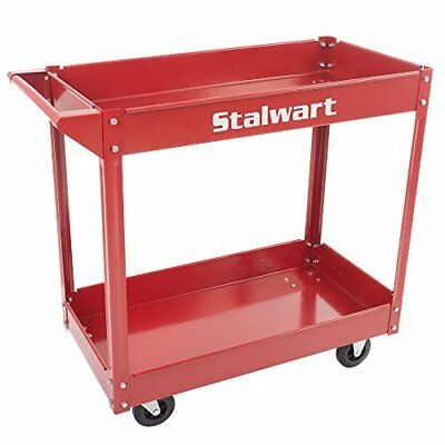 Metal Service Utility Cart, Heavy Duty Supply Cart with Two Storage Tray