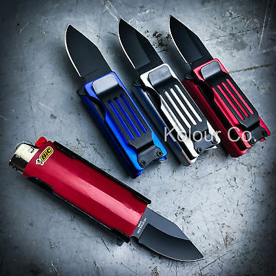 Lighter Holder w/ Spring Assisted Open Folding Pocket Knife Bro EDC Multi-Tool