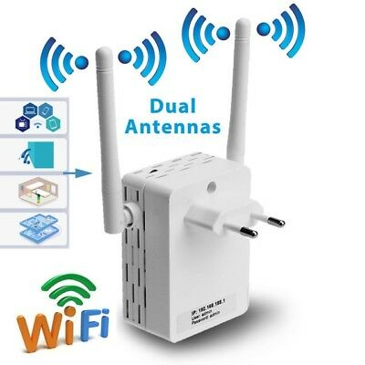 Wireless Wifi Repeater 300 Mbit Mini Router WLAN Verstärker with Dual Antenna EU