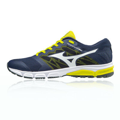 Mizuno Synchro MD 2 Mens Yellow Blue Cushioned Running Sports Shoes Trainers