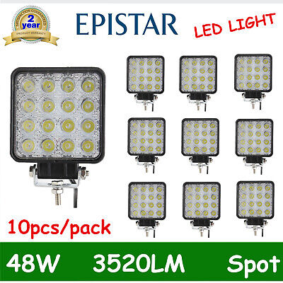 10X 48W LED Work Light Flood Truck Driving Fog Lamp Square 4WD Jeep 4.3INCH Boat