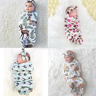 US Newborn Infant Baby Kids Swaddle Cocoon Wrap Warm Covers Blanket&Headband Set