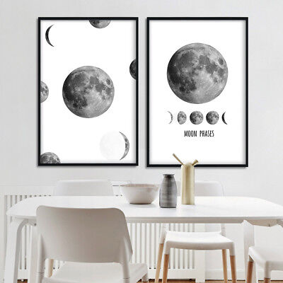 The Moon Phases Minimalist Wall Art Canvas Poster Prints Home Room Decoration