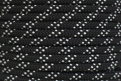 Polyester Double Braided Rope 12mm x 100m, Black/White Fleck