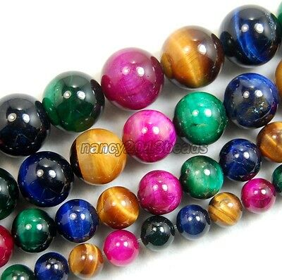 6mm 8mm 10mm 12mm Natural Multi Color Tiger's Eye Gemstone Round Spacer Beads
