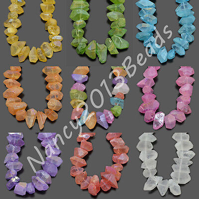 """10x16mm Natural Crystal Quartz Rock  Nugget  Freeformed Middle Drilled  Beads 8"""""""