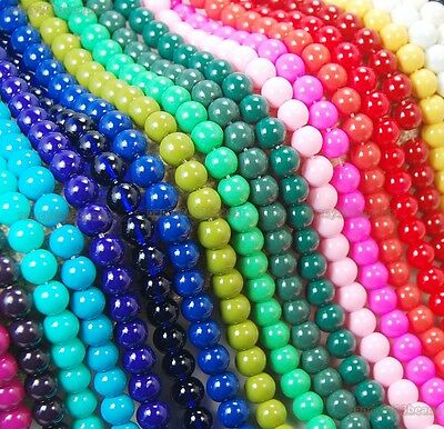 4mm 6mm 8mm 10mm 12mm Czech Opaque Coated Glass Pearl Round Spacer Beads 16''