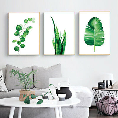 Watercolor Plants Green Leaves Wall Art Canvas Posters Prints Home Decoration