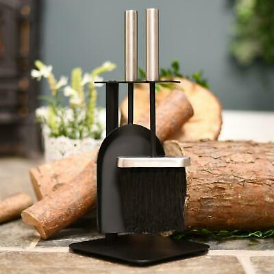 """""""Birchdale Avenue"""" Black and Stainless Steel Fireplace Brush and Pan Set"""