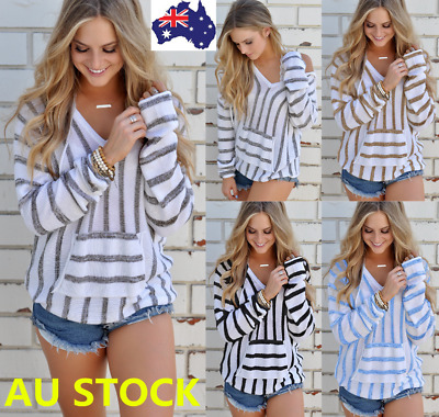 Women Knitted Sweater Shirt V Neck Striped Hooded Pullover Jumper Loose Tops