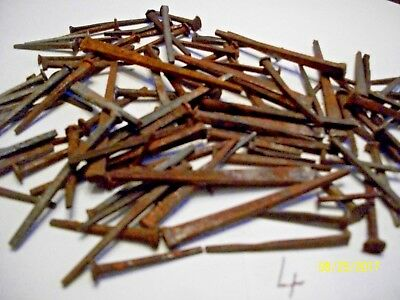 80 Nice - Orig. Assorted Size, Antique, Square Steel Nails, Old Barn Find ! Lot4