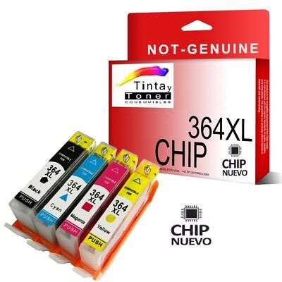 4 Cartuchos De Tinta con Chip Hp 364xl Photosmart 5520 5510 6520 b110a Non Oem