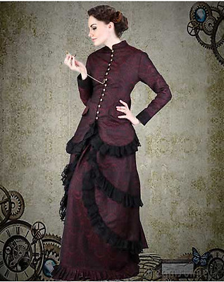 Women's Victorian Steampunk Burgundy Brocade Dinner Dress Costume Halloween New