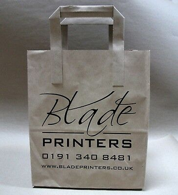 White or Brown Paper Carrier bags printed with your 1 colour text logo or design