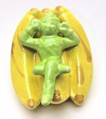 Vintage Wall Pocket ~ Pixie/Elf in a Bunch of Bananas ~ California Pottery