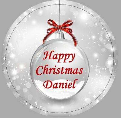 24 x 40mm Stickers Round Personalised Christmas Bauble Grey Red Labels