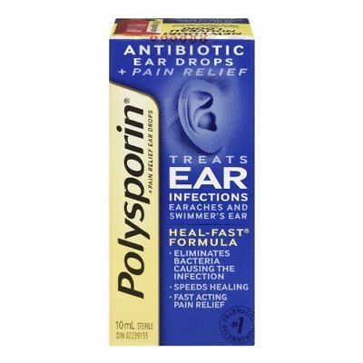 Polysporin Plus Pain Relief Antibiotic Ear Drops, 10 ml {Imported from Canada}