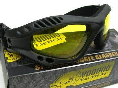 VOODOO TACTICAL Black SPORTAC GOGGLES Glasses w/ Yellow Lens New! 02-883217000