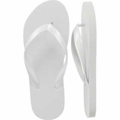 Lot of 72 Pairs Wholesale Women's Solid Plain White Flip Flops Bulk Flip Flop