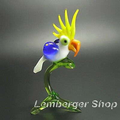 Glass figurine parrot made of colored glass. Height 10 cm / 4 inch!