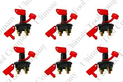 6 Sets of 12 Volt Battery Kill Switch with Two Removable Keys 300 AMPS Terminal