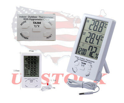 Digital Temperature Humidity Meter In/Outdoor Hygrometer Thermometer LCD Display