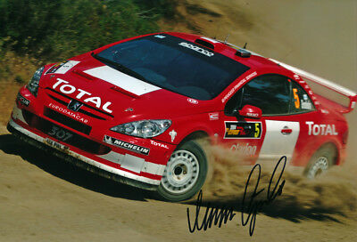 Marcus Gronholm Signed 8X12 Inches WRC Photo