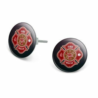 Firefighter Fire Rescue Maltese Cross Novelty Silver Plated Stud Earrings