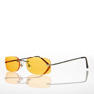 90s Rimless Rectangle Hippie Sunglasses with Color Tinted Lens Orange - Bea