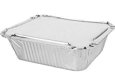 50 x Quality Aluminium Foil Containers Size-2 with LIDS Trays Takeaway Baking