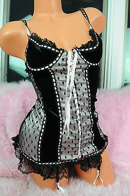 VTG Black Velvet Sissy Frilly Lace Pink Satin Camisole Nightie Top w Garters S