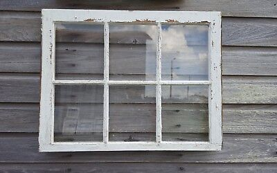 VINTAGE SASH ANTIQUE WOOD WINDOW PICTURE FRAME PINTEREST RUSTIC 30x24 6 PANE
